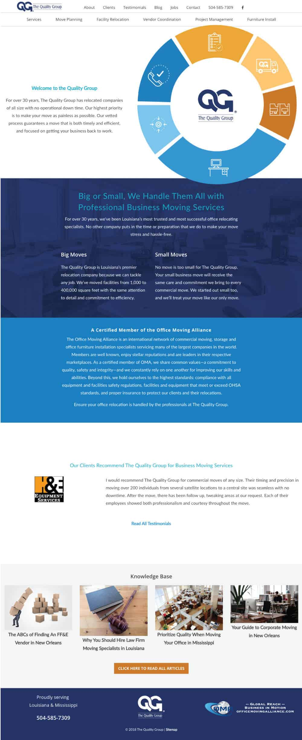 Website layout for commercial moving company