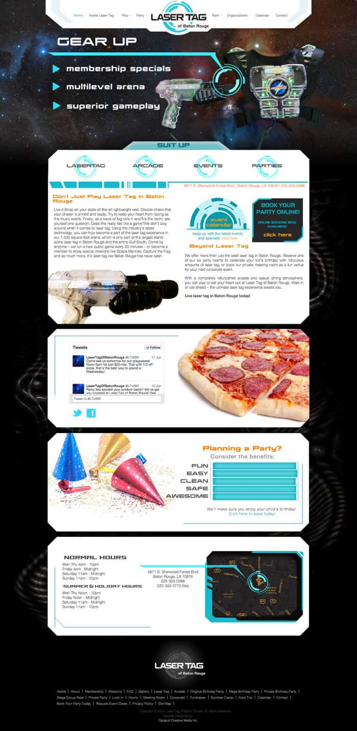 Layout of laser tag website homepage