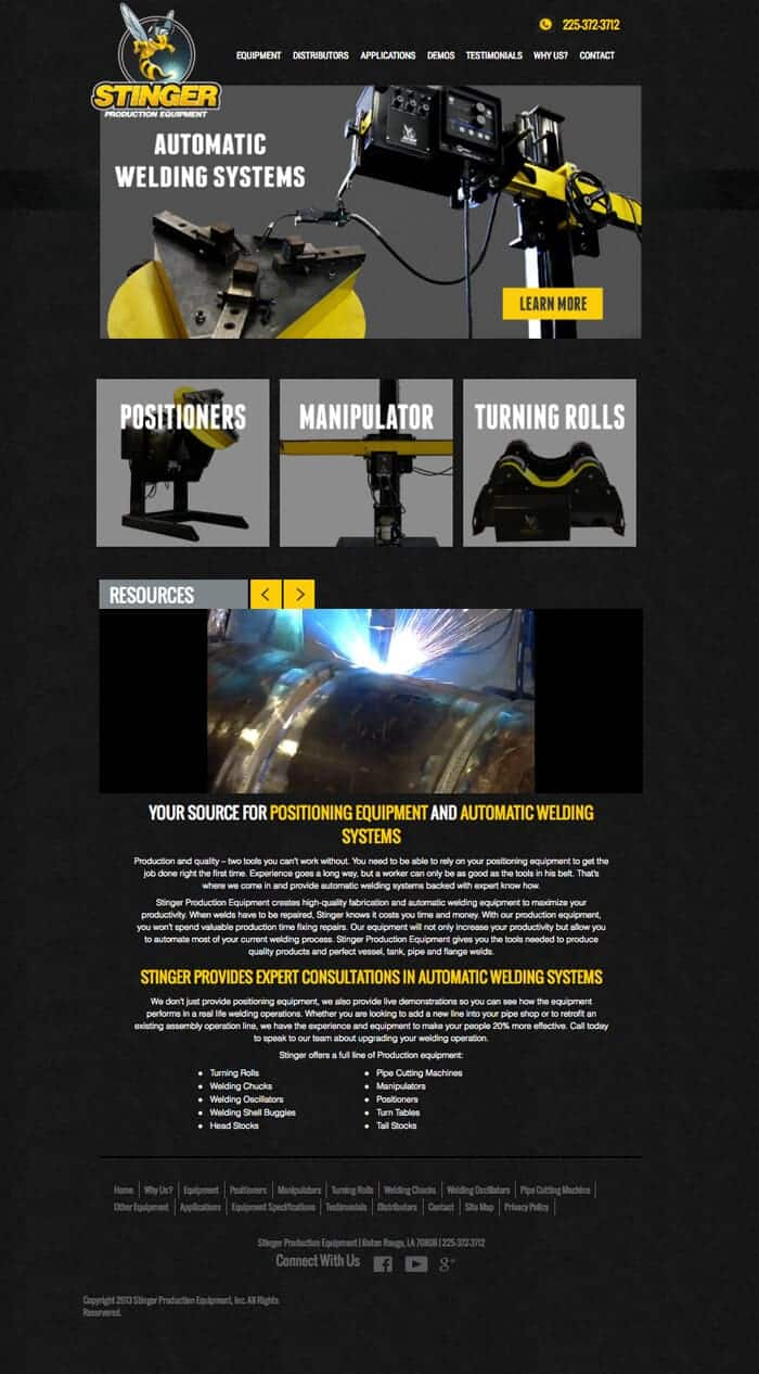 Black and yellow website layout