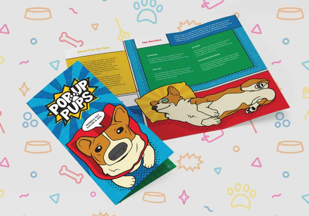 Colorful brochure design with dogs