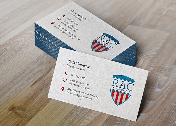 Red, white, and blue business cards