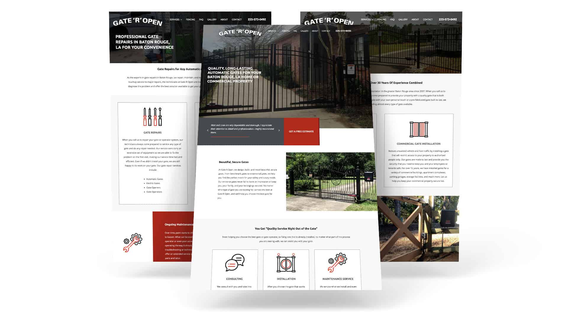 Website layout for gate and fencing company