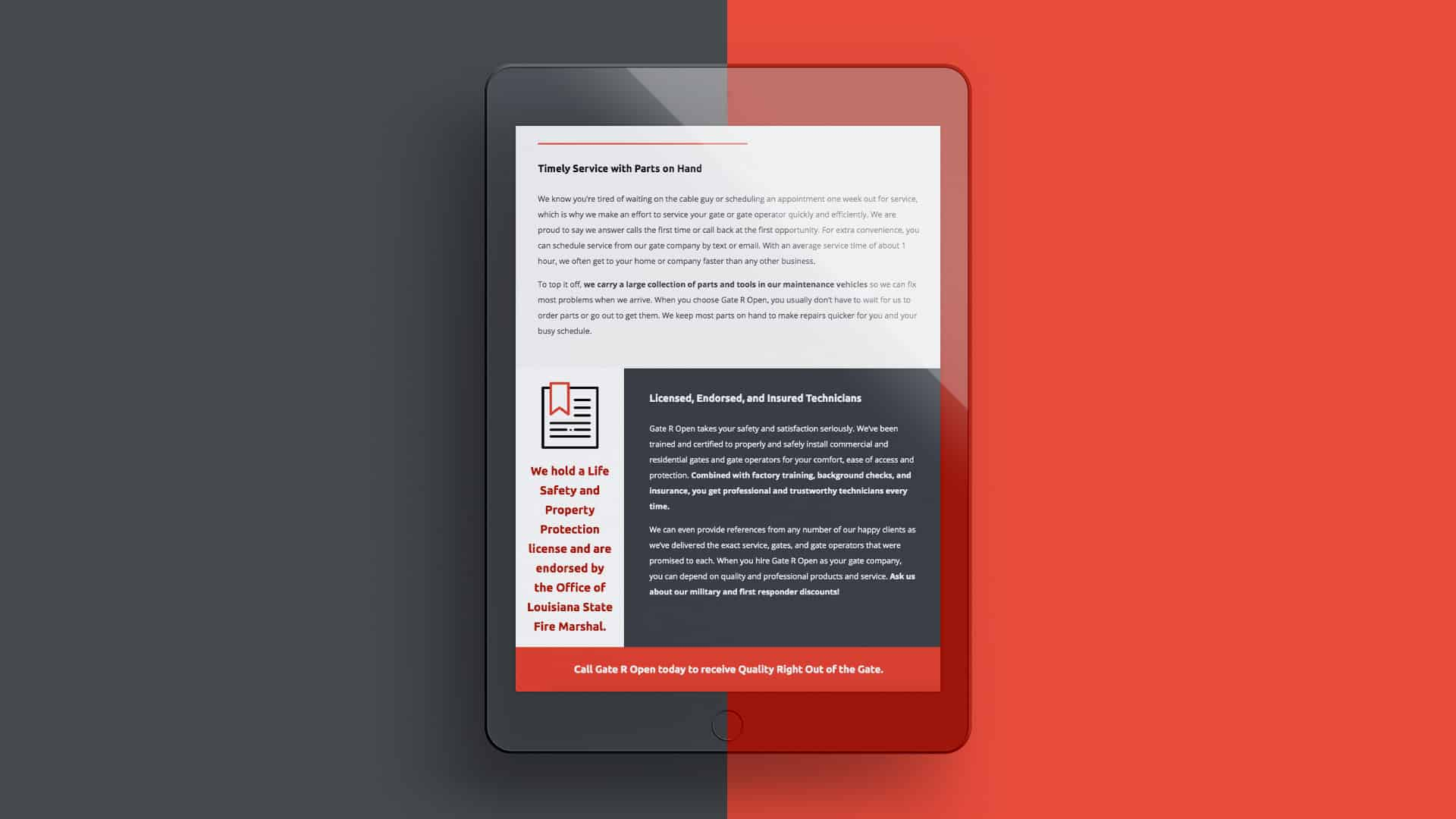 Responsive web design for gating company