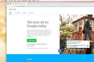 Website showing how to get a mobile ad on Google.