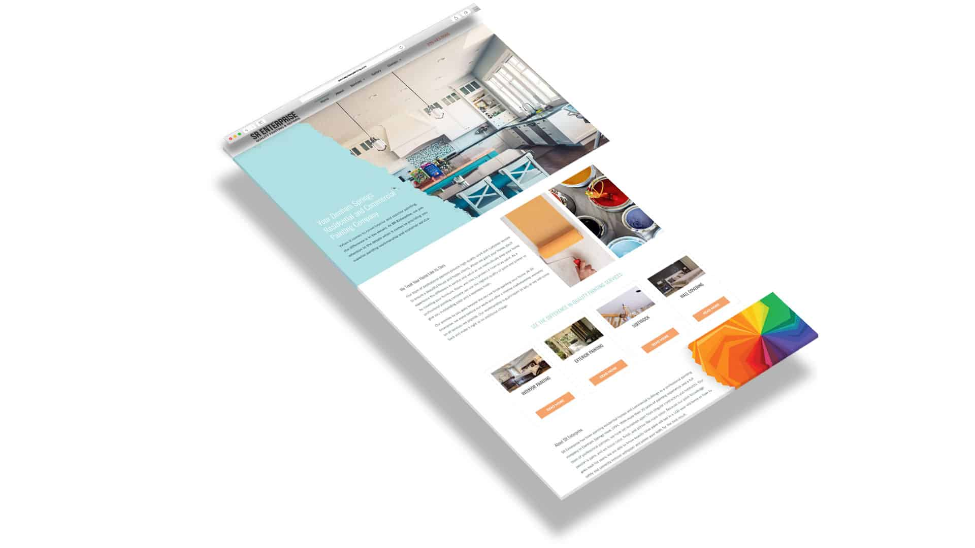 Layout of painting company website homepage
