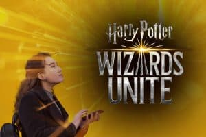 Girl playing Wizards Unite and marketing her business.