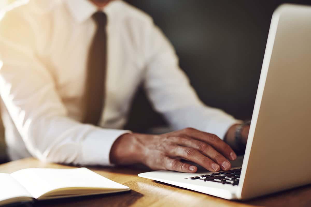 Professional writer working on laptop